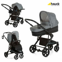 Коляска 3 в 1 hauck Atlantic Plus Trio Set, Melange Grey/Caviar